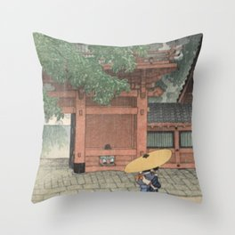 Early Summer Rain at the Sanno Shrine 1919 – Kawase Hasui  Throw Pillow