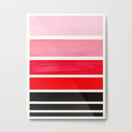 Red Minimalist Mid Century Modern Color Fields Ombre Watercolor Staggered Squares Metal Print