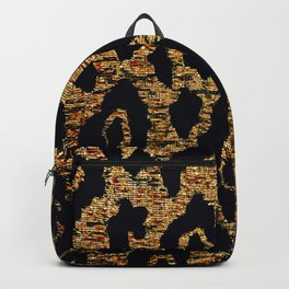 ANIMAL PRINT CHEETAH LEOPARD BLACK WHITE AND GOLDEN BROWN Backpack