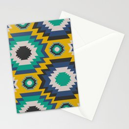 Ethnic in blue, green and yellow Stationery Cards