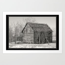 Abandoned Wooden Farm House in Snow (Monochrome) Art Print