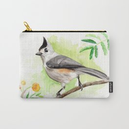 Watercolor Titmouse Carry-All Pouch