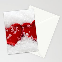 Love Hearts in Snow Stationery Cards