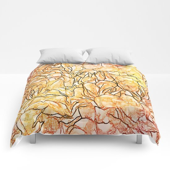 Orange Painterly Floral Abstract Comforters