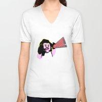 lichtenstein V-neck T-shirts featuring Lego Lichtenstein - Scream by Timkirman
