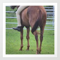 Horse and Rider Bareback Art Print