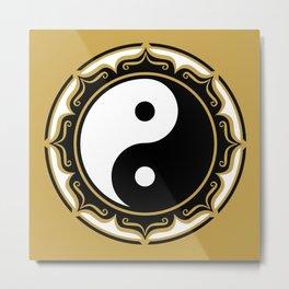 Yin Yang Lotus Metal Print