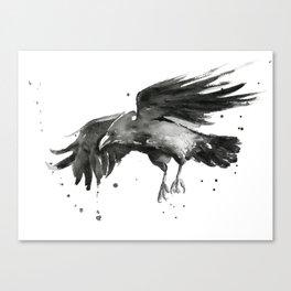 Raven Watercolor Canvas Print