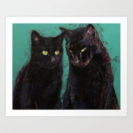 Two Black Cats Art Print
