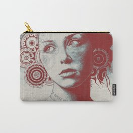Ayil red   vintage lady portrait   zentangle mandala drawing Carry-All Pouch