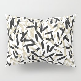Black and White Feather Repeating Pattern Pillow Sham
