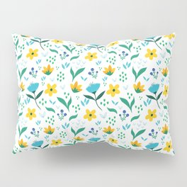 Summer flowers in yellow and blue in white background Pillow Sham