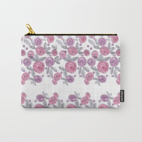Bouquets of pink roses . Watercolor . Carry-All Pouch