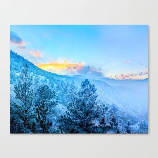 Snow Mountains Sunrise Canvas Print