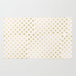 Vintage rustic faux gold white elegant polka dots pattern Rug