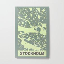 Stockholm, Sweden, city map, Mantle grey Metal Print