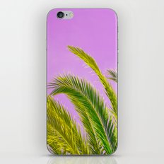 Green palm leaves on a pink background - #Society6 #Buyart iPhone & iPod Skin