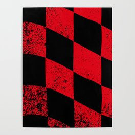 Red Dirty Chequered Flag Poster