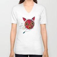 mononoke V-neck T-shirts featuring Mononoke Mask  by Puddingshades