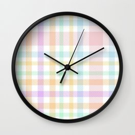 Rainbow Plaid Tartan Textured Pattern Wall Clock