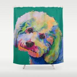 Bichon Poodle Pet Portrait Shower Curtain