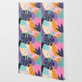 Bold Beautiful Graphic Floral Tropical Monstera Plant Pattern Colorful Color Block Style Floral King Wallpaper