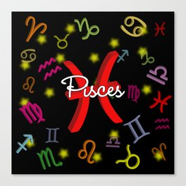 Pisces Floating Zodiac Canvas Print