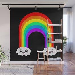 Happy Rainbow (Single On Black) Wall Mural