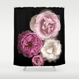 Purple, Pink, and White Roses Shower Curtain