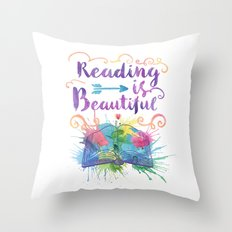 Reading is Beautiful Throw Pillow