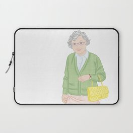 The smiling stranger and her dog on the way to work. By Priscilla Li Laptop Sleeve