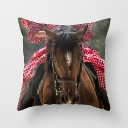 Woman Horseback Rider in Spanish Dress Throw Pillow