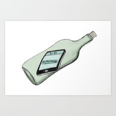 1 New Message (In a Bottle) Art Print