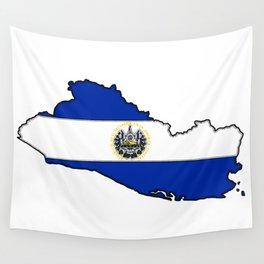 El Salvador Map with Salvadoran Flag Wall Tapestry