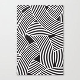 Modern Scandinavian B&W Black and White Curve Graphic Memphis Milan Inspired Canvas Print