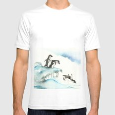 Jumping Penguins - Watercolor White MEDIUM Mens Fitted Tee