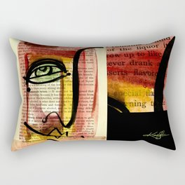"Funky Face Abstract, ""I See 35"" by Kathy morton Stanion Rectangular Pillow"