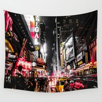 broadway Wall Tapestries featuring New York City Night II by Nicklas Gustafsson