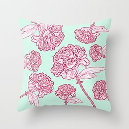 Barbed Wire Peony Floral in Coral Pink & Aqua Throw Pillow