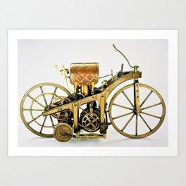 1885 Daimler-Maybah Reitwagen riding car - world's first motorcycle Art Print