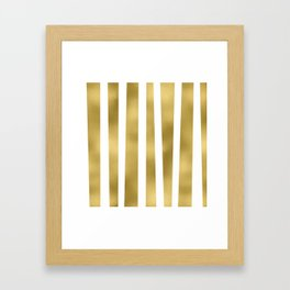 Gold unequal stripes on clear white - vertical pattern Framed Art Print