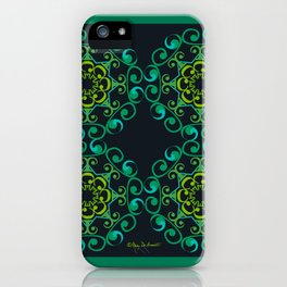 Grace Mandala Tiled - Green Black iPhone Case