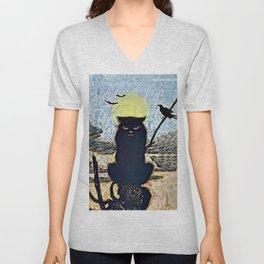 Halloween Black Cat & Full Moon Unisex V-Neck