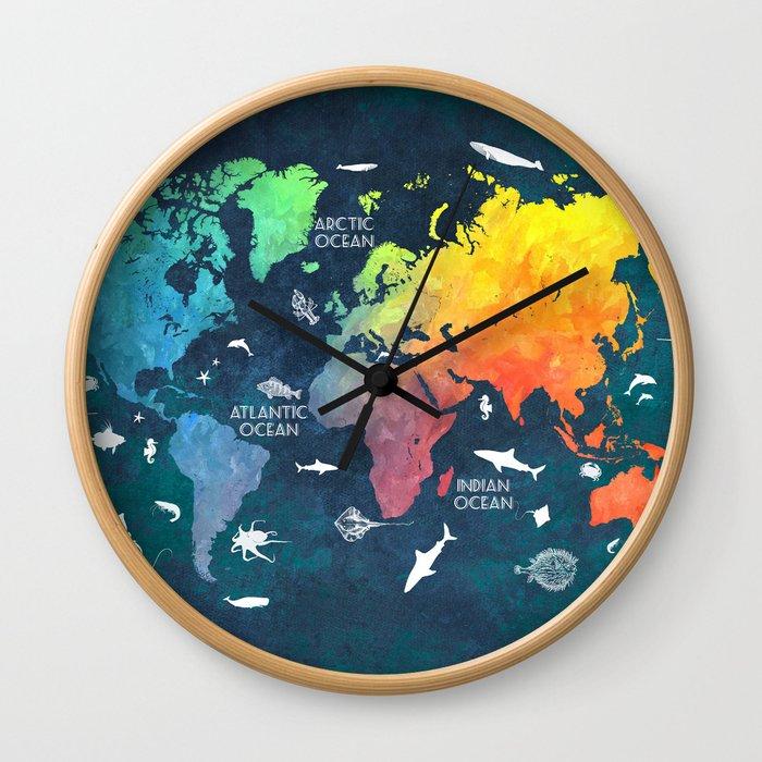 Ocean World Map Color Map Worldmap Wall Clock By Jbjart Society6