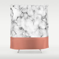 copper Shower Curtains featuring Marble & copper by Will Wild
