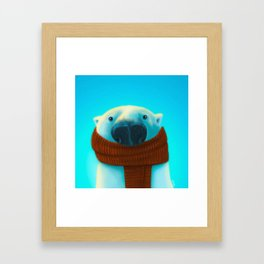Polar bear with scarf Framed Art Print