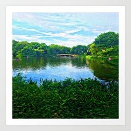 Central Park Bridge Over Peaceful Waters Art Print