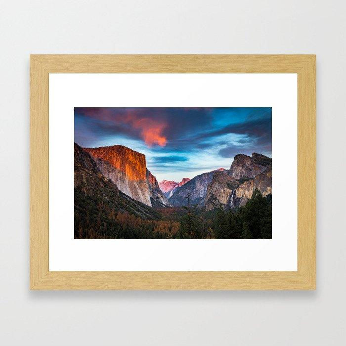 Yosemite tunnel view at sunset Framed Art Print