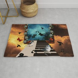 Music, piano with birds and butterflies Rug