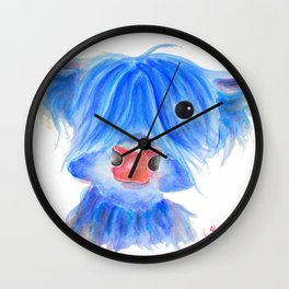 Scottish Highland Cow ' PUGGLES ' by Shirley MacArthur Wall Clock